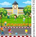 village, vector, play 41697436