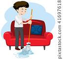 A Young Man Cleaning House 41697618