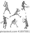 网球员的例证画与蜡笔 41697891