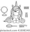 Vector cute baby  unicorn black  silhouettes. 41698348