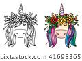 Vector cute  unicorn portrait  in wreath. 41698365