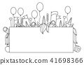 Vector funny party  unicorns hiding by blank. 41698366