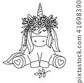 Vector cute sitting  unicorn  in wreath. 41698390