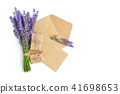 Fresh lavender flowers and envelopes 41698653