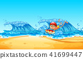 A Man Enjoy Bodyboarding at the Beach 41699447