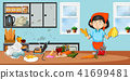 Housekeeper in dirty kitchen 41699481