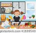Dirty kitchen scene with housekeeper 41699540
