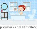 A Boy Taking a Bath 41699622