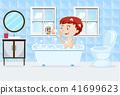 A Boy Taking a Bath 41699623