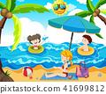 summer, beach, family 41699812