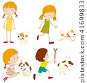 Set of various young children and dogs 41699833
