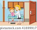 A Girl Having Vaccine at Hospital 41699917