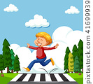 A Happy Boy Crossing the Road 41699939