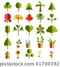 植物樹綠色自然圖標集 41700392