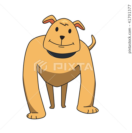 Funny smiling dog cartoon character. Strong watchdog standing. Flat vector illustration. Isolated on 41701377