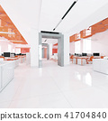 Perspective view of a color office interior with a row of white tables. 3d rendering. 41704840