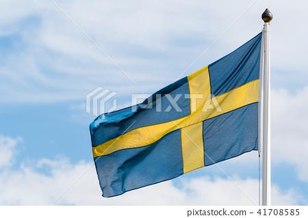 Swedish flag waving in the wind 41708585