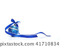 Blue Christmas ball with ribbon bow on white background 41710834