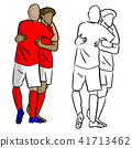 male soccer players celebrating goal with hug  41713462