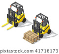 Vector 3d isometric forklift for storage, warehouse 41716173