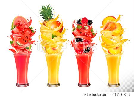 Fruit in juice splashes. Strawberry,  41716817