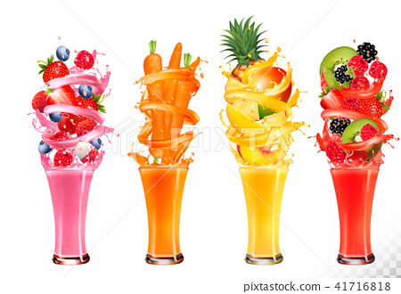 Fruit in juice splashes. Strawberry, 41716818
