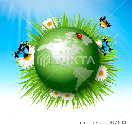 Ecology concept.Green Globe and Grass 41716819