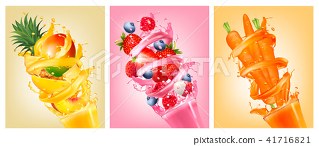 Set of labels of of fruit in juice splashes. 41716821