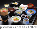 Meals of Japanese-style meal of hot-spring inn 41717070
