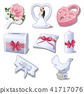Set wedding accessories isolated on white background. The brides bouquet, figurine newlyweds for car 41717076