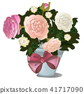 A gift of potted flowers isolated on white background. Vector cartoon close-up illustration. 41717090