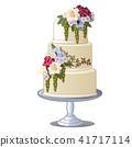 Festive layered biscuit cake covered with frosting and edible flowers. Sketch for greeting card 41717114