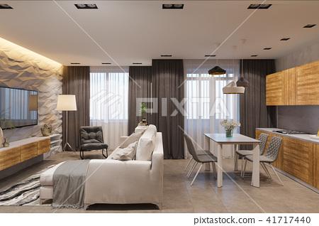 3d render Interior design in Scandinavian style, living room and kitchen 41717440
