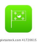 South Korea flag icon digital green 41720615
