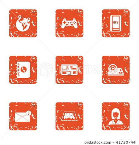 Commission assistance icons set, grunge style 41720744