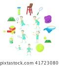 Tennis icons set, cartoon style 41723080