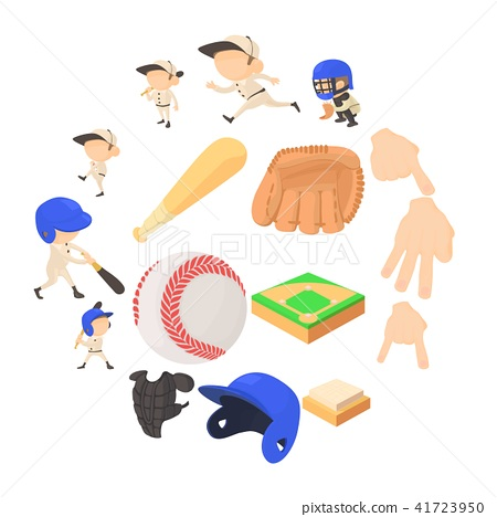 Baseball items icons set, cartoon style 41723950
