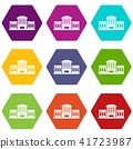 Railway station icons set 9 vector 41723987