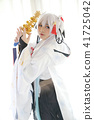 Japan anime cosplay , white japanese miko in white tone room 41725042