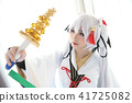 Japan anime cosplay , white japanese miko in white tone room 41725082