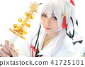 Japan anime cosplay , white japanese miko in white tone room 41725101