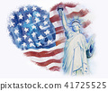 Statue Liberty on flag american.  41725525