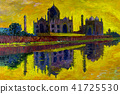Abstract oil painting. Taj Mahal in Agra, India. 41725530