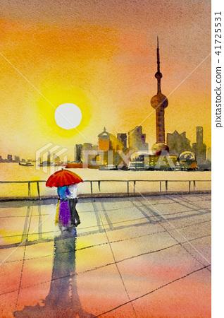 Beautiful shanghai in China. Watercolor painting 41725531