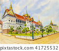 Royal grand palace, Watercolor painting 41725532