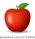 Red apple with green leaf isolated on white backgr 41726658