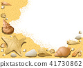 Sandy Background with Seashells 41730862