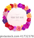 Bright wreath made from lovely roses with place for text on white 41732378
