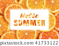 Hello summer on orange slice background.  41733122