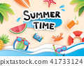 Summer time with paper cut for vacation beach  41733124